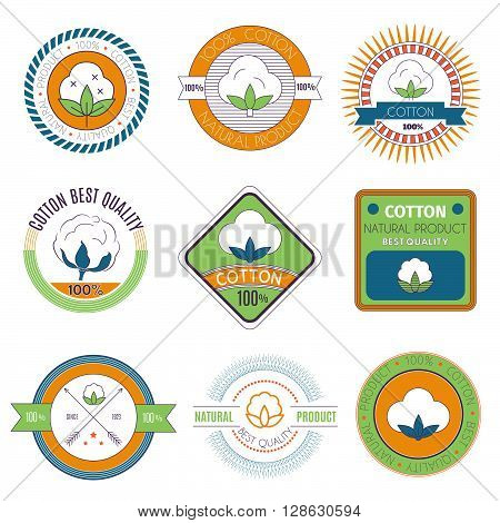 Cotton icons set. Cotton labels stickers and emblems. Templates for your design vector illustration.