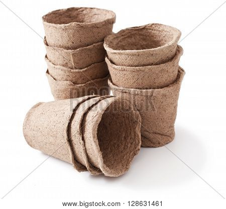 peat pot for plant on white background