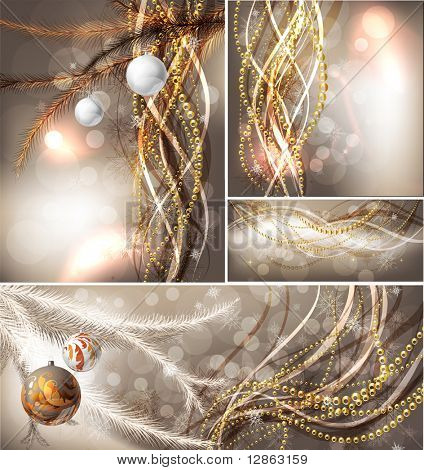 Merry Christmas Elegant Background set for Greetings Card with balls, snowflakes, fur tree branches and sparks