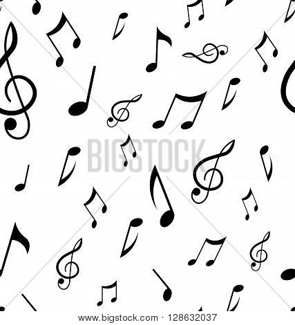 Abstract seamless pattern with music notes. Background vector