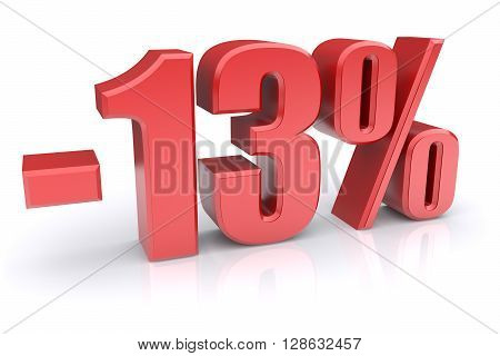 13% discount icon on a white background. 3d rendered image