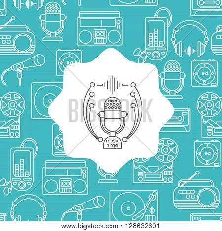 Music and audio icons in a linear style seamless pattern with the emblem of music for your design.