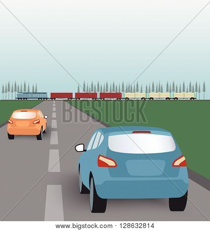 Vector landscape background: road with cars in green valley and freight train. Flat design