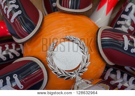 Bowling balls lined bowling shoes to celebrate victory