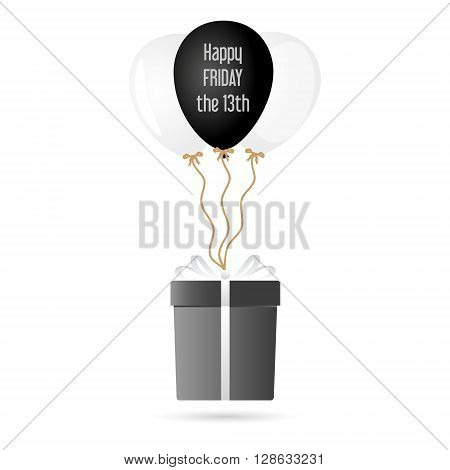 One Big Gray Gift Package Soaring With Helium Balloons With Friday 13 Text Eps10