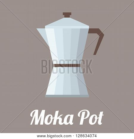 vector coffee moka pot,flat design with text