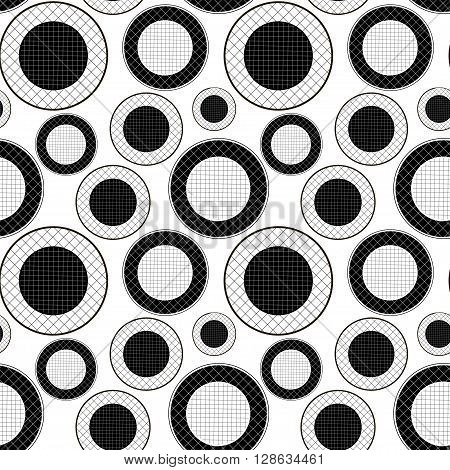 Checkered pattern of black and white circles. Black and white pattern of circles in the mesh. Vector seamless