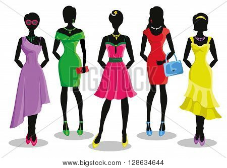Fashion shopping girls illustration.Vector.Sale.Pretty woman in Colored party dresses.Design template and background.Fashion wear, vector set. Christmas, shopping, retail, discount poster and Black friday