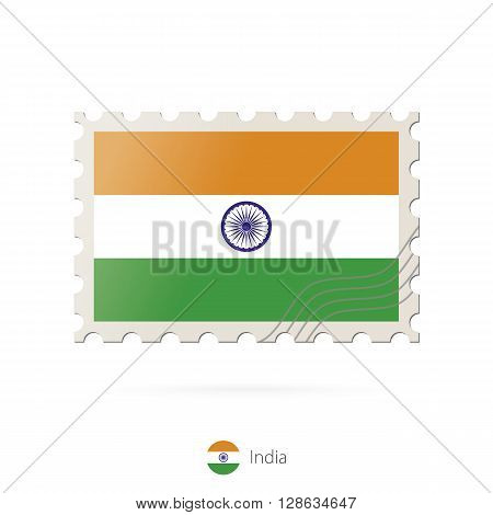 Postage Stamp With The Image Of India Flag.