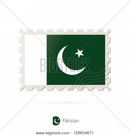 Postage Stamp With The Image Of Pakistan Flag.