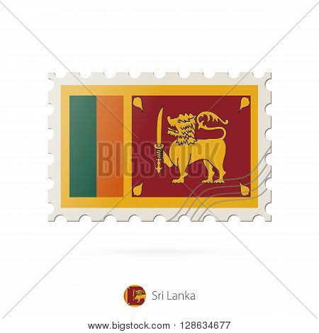 Postage Stamp With The Image Of Sri Lanka Flag.