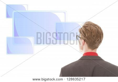 Young businessman looking at light blue frames isolated on white background
