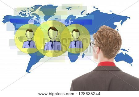 Young businessman looking at blue world map with friends isolated on white background