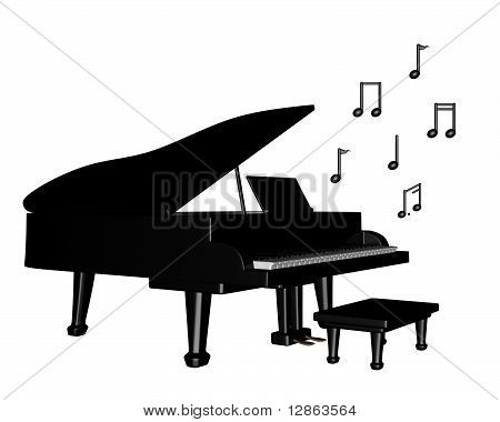 Grand Piano with Musical Notes