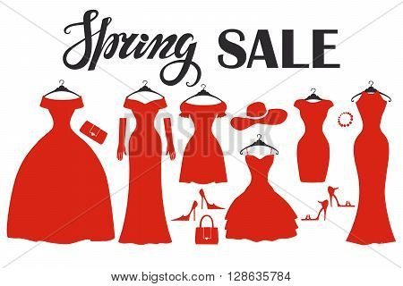 Fashion red dresses in modern flat design.Vector.Sale poster, background. Vector  Composition with dress, wear, accessories.Fashion  Illustration.Party Dresses hanging on the hanger.Spring shopping