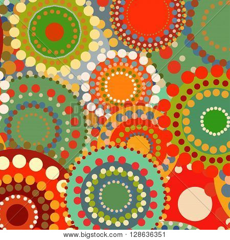 Textile color retro background ornament circles. Vintage summer background. Orange and red warm colors. Vector pattern illustration. Sunny background