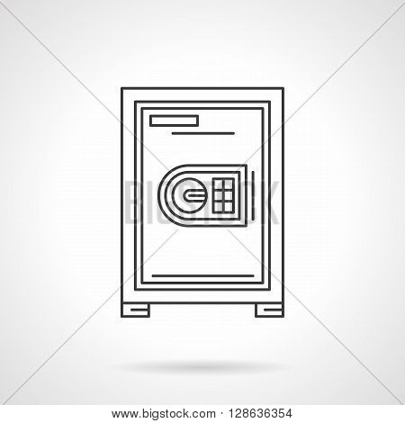 Safes and lockers. Safe box with code lock panel. Equipment for office, bank. Flat line style vector icon. Single design element for website, business.