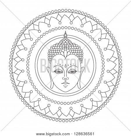 Head of Buddha in mandala. Isolated icons of Mudra. Beautiful detailed, serene. Vintage decorative elements. Indian, Hindu motifs.