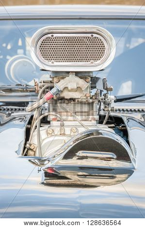close-up of an old high-performance supercharged vehicle engine