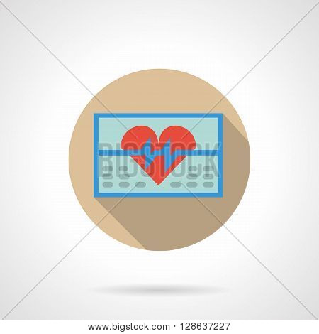 Blue ECG monitor with red heart and heart rate curve. Cardiology equipment. Medicine and healthcare. Round flat color style vector icon. Web design element for site, mobile and business.
