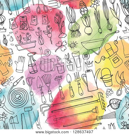 Spring garden seamless pattern, Watercolor splashes.Hand drawn vector sketch elements flowers, bulbos, garden tool, boarding equipment.Gardening Outline icon background, spring symbols, vintage vector