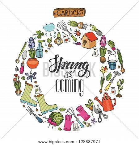 Spring garden.Hand drawn flowers, bulb, garden tool, boarding, equipment, lettering quotes in circle wreath composition.Vector garden sketch.Spring Gardening elements, planting spring symbols, seedings