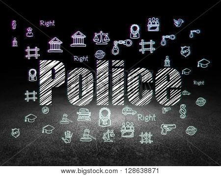 Law concept: Glowing text Police,  Hand Drawn Law Icons in grunge dark room with Dirty Floor, black background