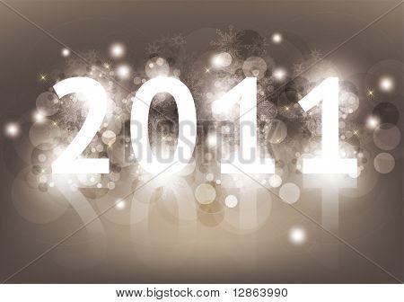 Año nuevo 2011 con luz trasera de la tarjeta y lugar para el texto