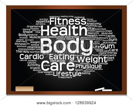 Vector concept or conceptual abstract health, nutrition and sport word cloud on blackboard and chalk background