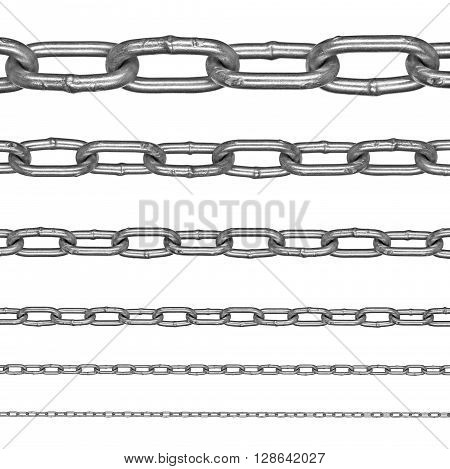 Collection of aluminum chains on an isolated white background. Each one is in full camera resolution