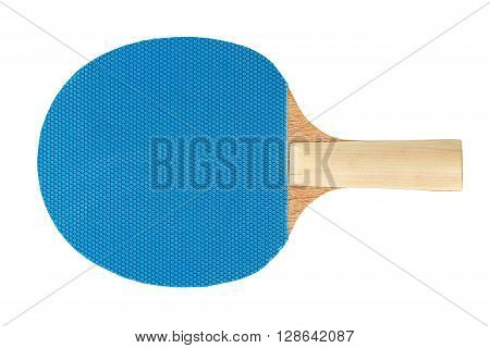 blue ping pong racket isolated on white