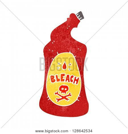 freehand retro cartoon bleach bottle