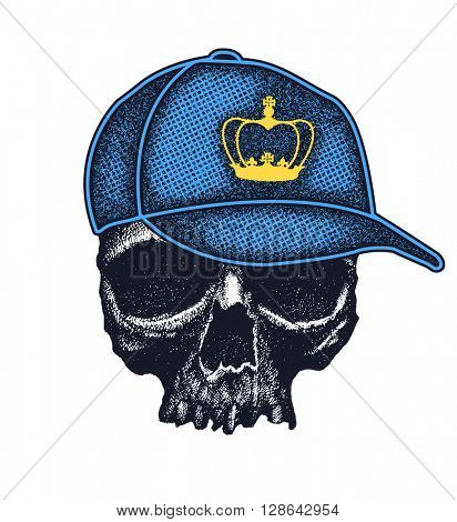 Skull in hat with crown. Grunge style. Jpeg version.