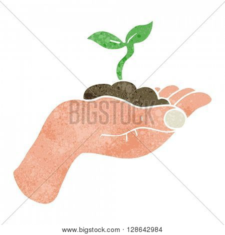 freehand retro cartoon seedling growing held in hand