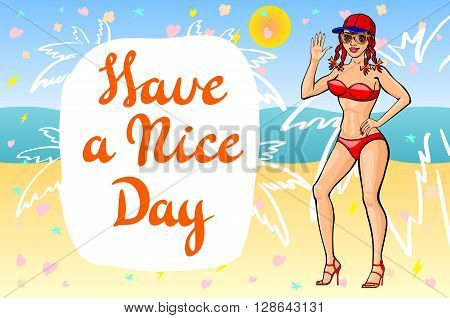 Cartoon Vector Girl Welcomes On A Beach. Have A Nice Day