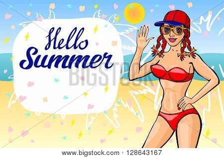 Hello Summer Lettering And Woman Sitting On Sand Of The Sea Beach And Takes Sunbath. Summer Time. Su