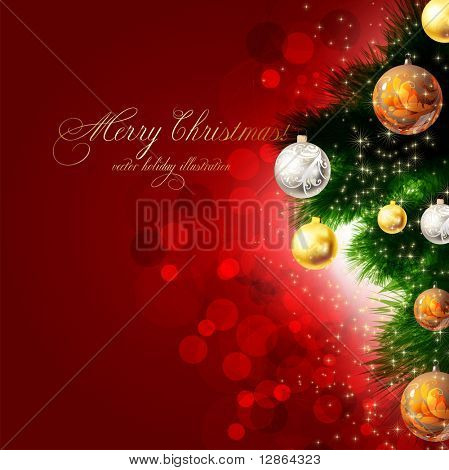 Christmas Background with Baubles und Weihnachtsbaum