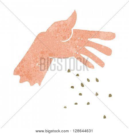 freehand retro cartoon hand spreading seeds
