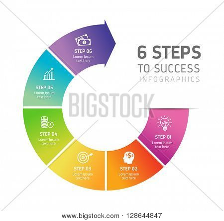 Six steps infographics - can illustrate a strategy, workflow, team work or way to success.