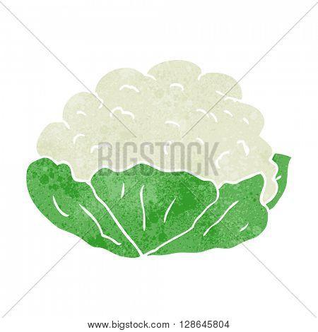 freehand retro cartoon cauliflower