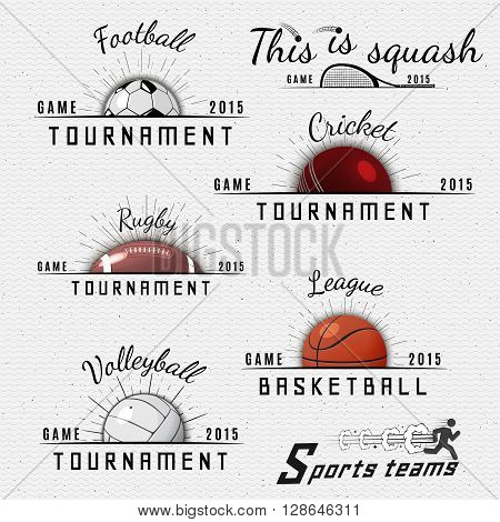 Sports teams badges logos and labels can be used for design, presentations, brochures, flyers, sports equipment, corporate identity, sales