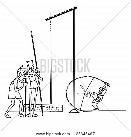 High jump athletes athletics. summer sports games. Humor in sports. Pole vault. Black and white drawing for coloring