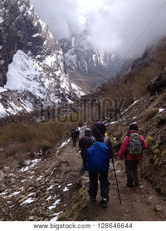 Trekking to Machapuchare (Fish Tail) base campwhere is a mountain in the Annapurna Himal of north central Nepal. It is revered by the local population as particularly sacred to the god Shiva.