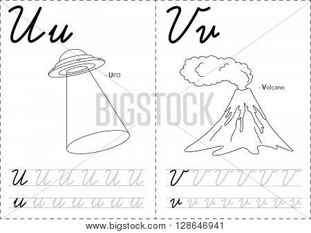 Cartoon Ufo And Volkano. Alphabet Tracing Worksheet: Writing A-z And Educational Game For Kids