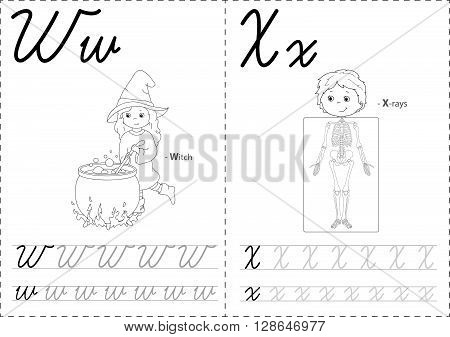 Cartoon Witch And X-rays. Alphabet Tracing Worksheet: Writing A-z And Educational Game For Kids