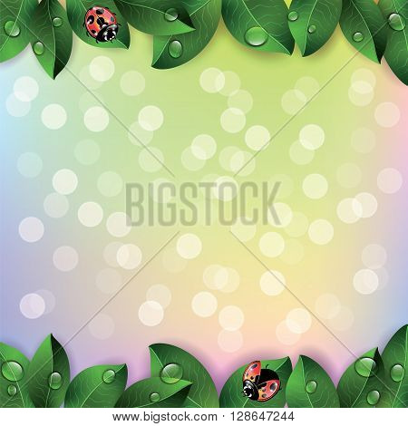 Red ladybugs and green leaves on colorful background. Vector illustration.