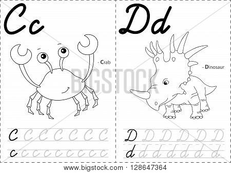 Cartoon Crab And Dinosaur. Alphabet Tracing Worksheet: Writing A-z And Educational Game For Kids
