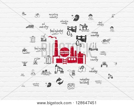 Industry concept: Painted red Oil And Gas Indusry icon on White Brick wall background with  Hand Drawn Industry Icons