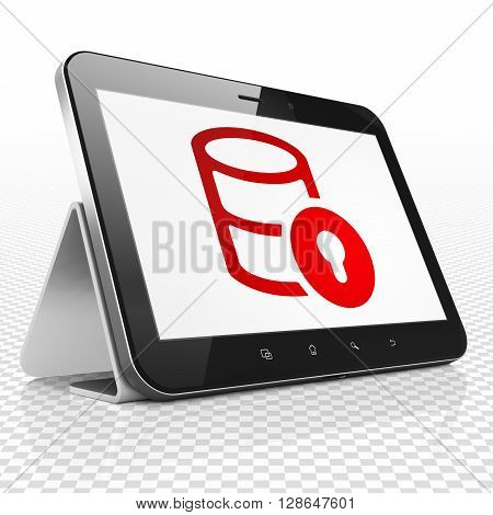 Database concept: Tablet Computer with red Database With Lock icon on display, 3D rendering