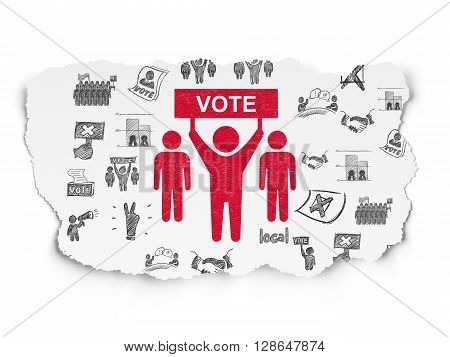 Political concept: Painted red Election Campaign icon on Torn Paper background with  Hand Drawn Politics Icons